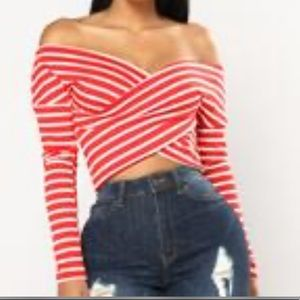 red and white wrap crop top